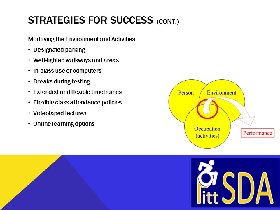 STRATEGIES FOR SUCCESS Modifying the Environment and Activities Educating instructors and students Meeting s prior to term starting Small class sizes Self-selection of classroom seating Scheduled meetings Tutoring program Welcome signs and announcements Acknowledging and celebrating veterans Designated area to study and socialize