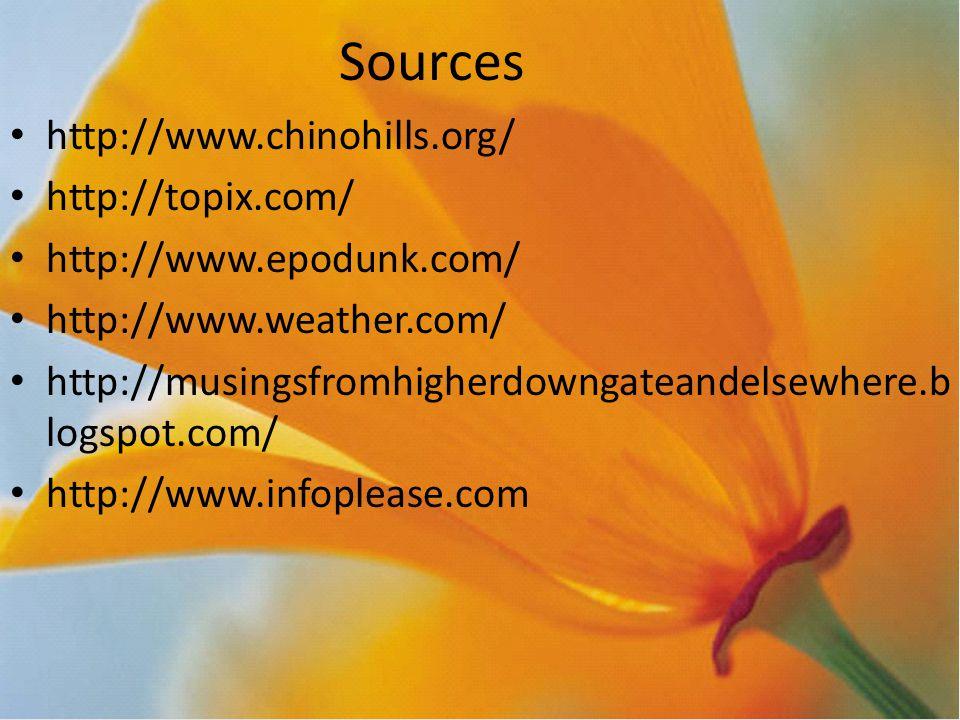 Sources http://www.chinohills.org/ http://topix.com/ http://www.epodunk.com/ http://www.weather.com/ http://musingsfromhigherdowngateandelsewhere.b logspot.com/ http://www.infoplease.com