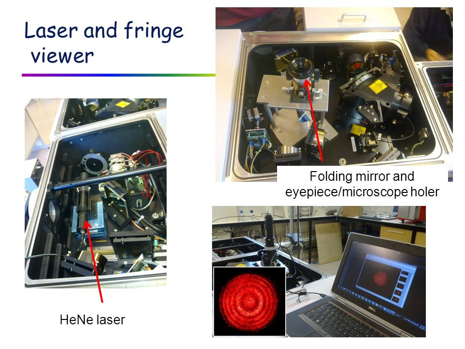 Laser and fringe viewer HeNe laser Folding mirror and eyepiece/microscope holer