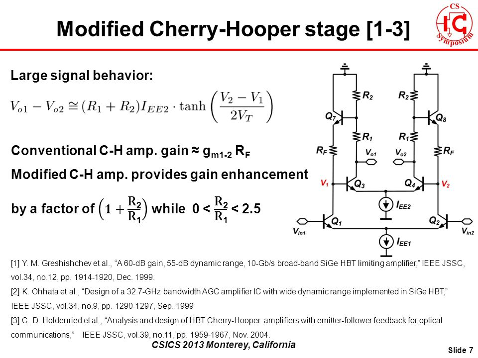 CSICS 2013 Monterey, California Modified Cherry-Hooper stage [1-3] Slide 7 [1] Y.