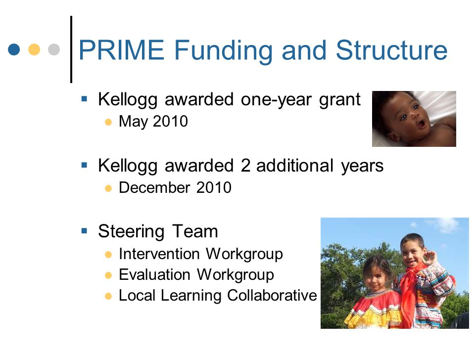 PRIME Funding and Structure  Kellogg awarded one-year grant May 2010  Kellogg awarded 2 additional years December 2010  Steering Team Intervention Workgroup Evaluation Workgroup Local Learning Collaborative