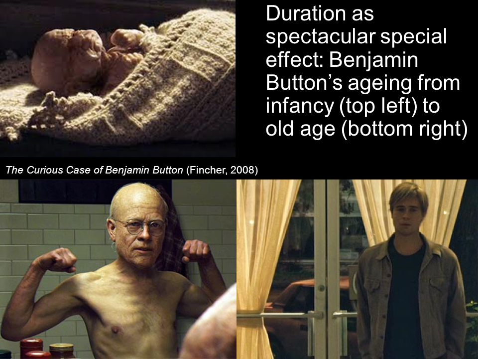 Duration as spectacular special effect: Benjamin Button's ageing from infancy (top left) to old age (bottom right) The Curious Case of Benjamin Button (Fincher, 2008)