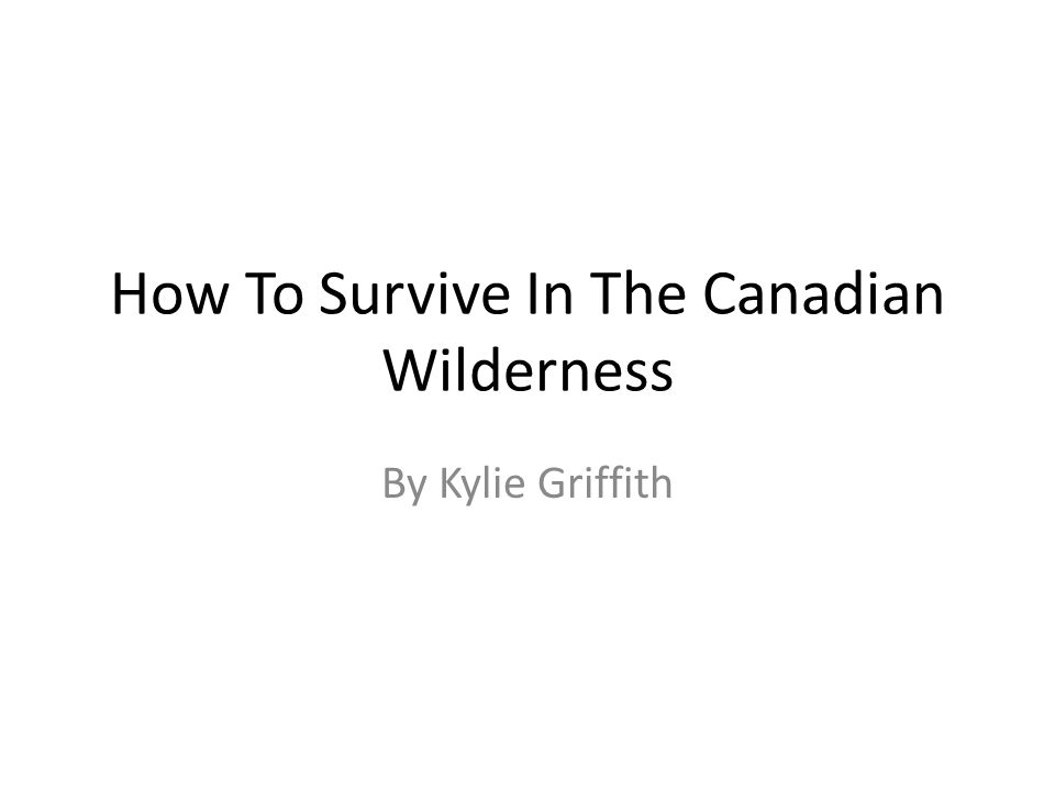 How To Survive In The Canadian Wilderness By Kylie Griffith