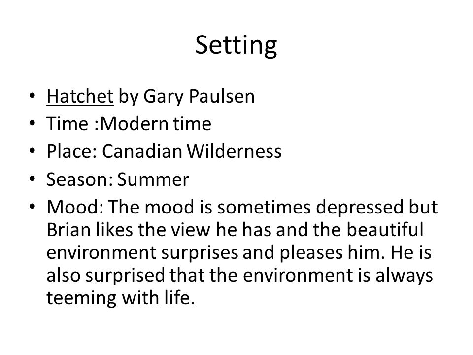 Setting Hatchet by Gary Paulsen Time :Modern time Place: Canadian Wilderness Season: Summer Mood: The mood is sometimes depressed but Brian likes the view he has and the beautiful environment surprises and pleases him.