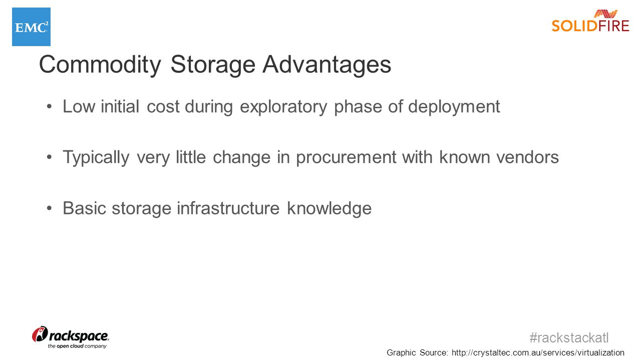 #rackstackatl Graphic Source: http://crystaltec.com.au/services/virtualization Commodity Storage Advantages Low initial cost during exploratory phase of deployment Typically very little change in procurement with known vendors Basic storage infrastructure knowledge