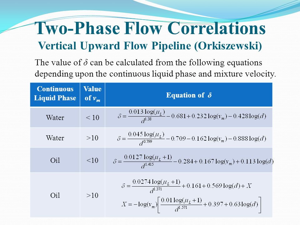 Two-Phase Flow Correlations Vertical Upward Flow Pipeline (Orkiszewski) The value of δ can be calculated from the following equations depending upon t