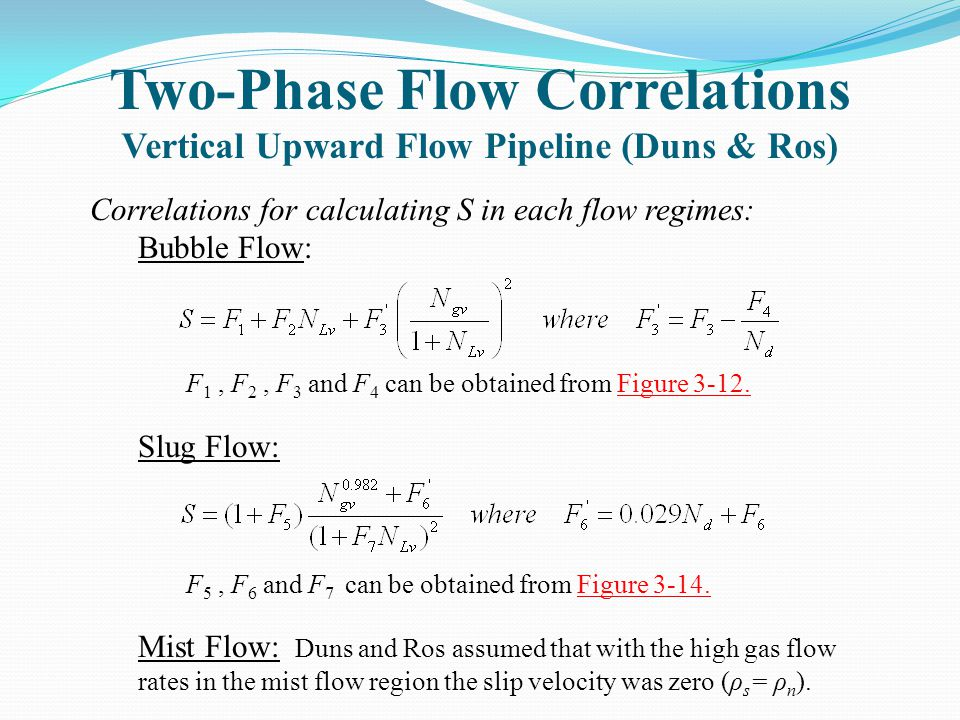 Two-Phase Flow Correlations Vertical Upward Flow Pipeline (Duns & Ros) Correlations for calculating S in each flow regimes: Bubble Flow: F 1, F 2, F 3