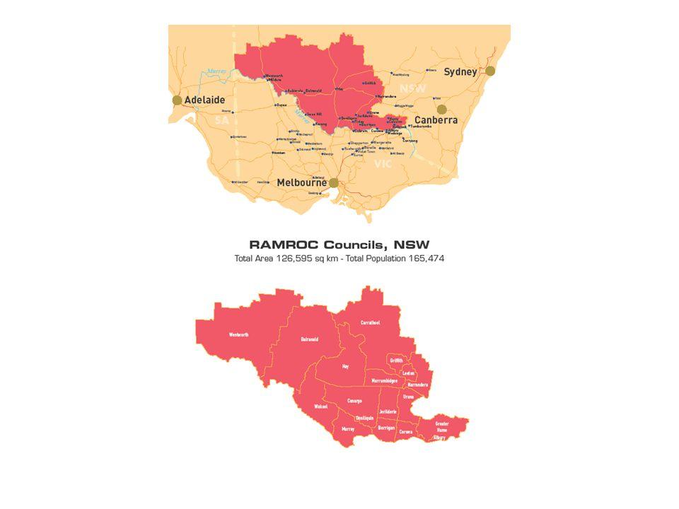 RAMROC Councils, NSW Total Area 126,595 sq km – Total Population 168,643 RAMROC POPULATIONS Albury51,359 Balranald2,438 Berrigan8,618 Carrathool2,938 Conargo1,678 Corowa11,818 Deniliquin7,591 Gr.