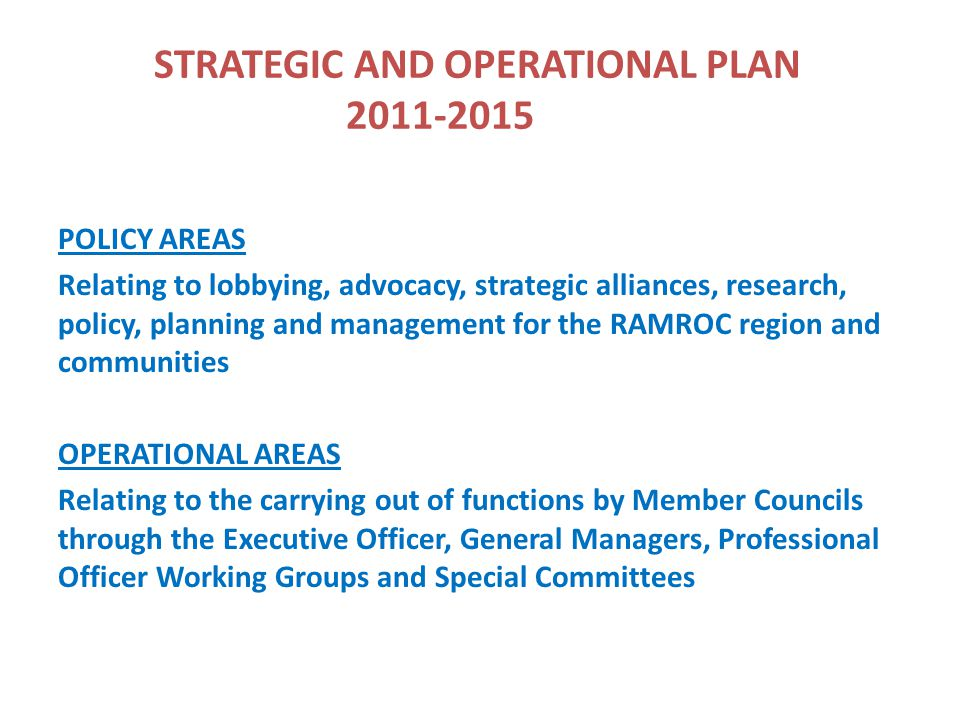 Organisation Structure RAMROC BOARD (MAYORS OF 18 MEMBER COUNCILS) RAMROC EXECUTIVE COMMITTEE (Chair, Deputy Chair & Secretary/Treasurer) EXECUTIVE OFFICER RAY STUBBS (Full time Position) MURRAY WASTE GROUP COORDINATOR NIGEL TAYLOR (Full time Position) RIVERINA WASTE GROUP COORDINATOR JOHN CRAIG (Part time Consultant)
