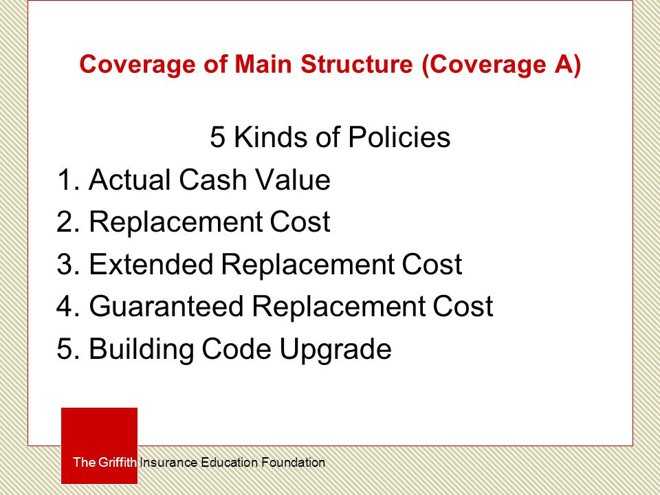 Coverage of Main Structure (Coverage A) 5 Kinds of Policies 1.