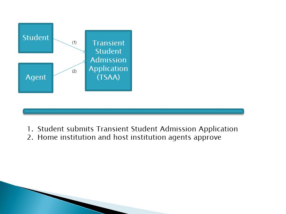 Student Agent Transient Student Admission Application (TSAA) (1) (2) 1.Student submits Transient Student Admission Application 2.Home institution and host institution agents approve