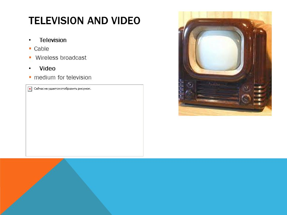 TELEVISION AND VIDEO Television  Cable  Wireless broadcast Video  medium for television