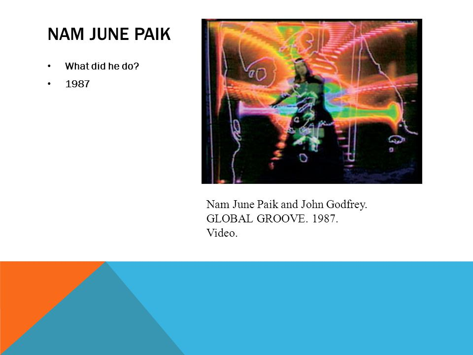 NAM JUNE PAIK What did he do 1987 Nam June Paik and John Godfrey. GLOBAL GROOVE. 1987. Video.