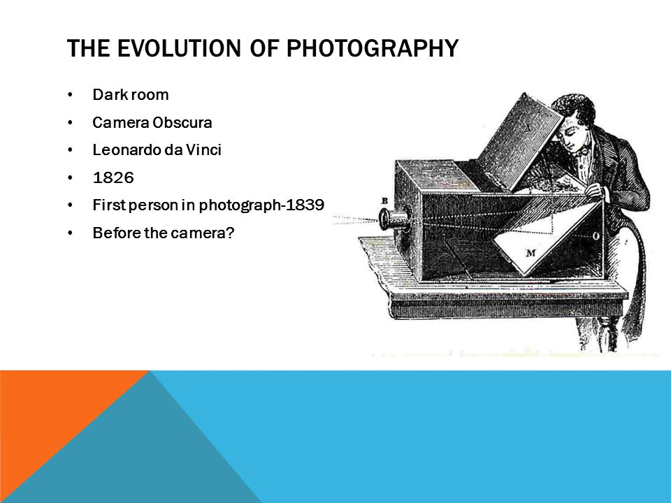 THE EVOLUTION OF PHOTOGRAPHY Dark room Camera Obscura Leonardo da Vinci 1826 First person in photograph-1839 Before the camera