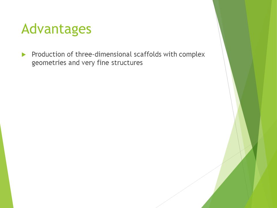  Production of three-dimensional scaffolds with complex geometries and very fine structures