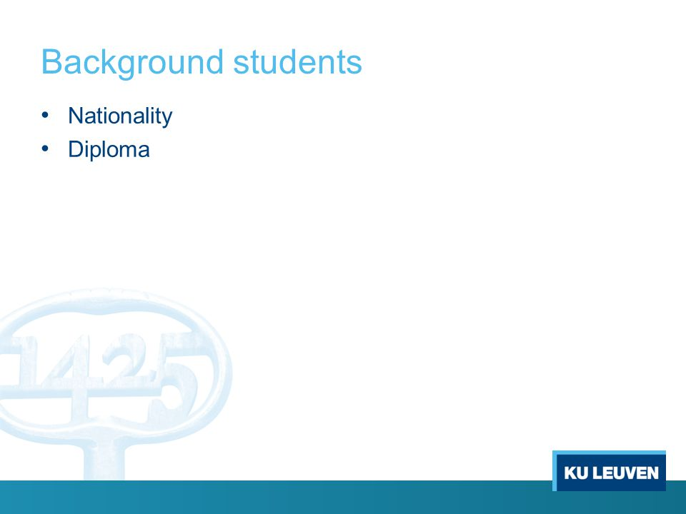 Background students Nationality Diploma