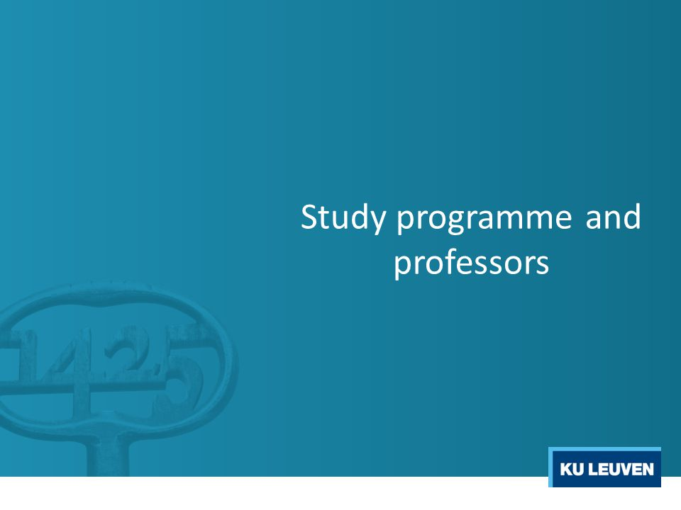 Study programme and professors