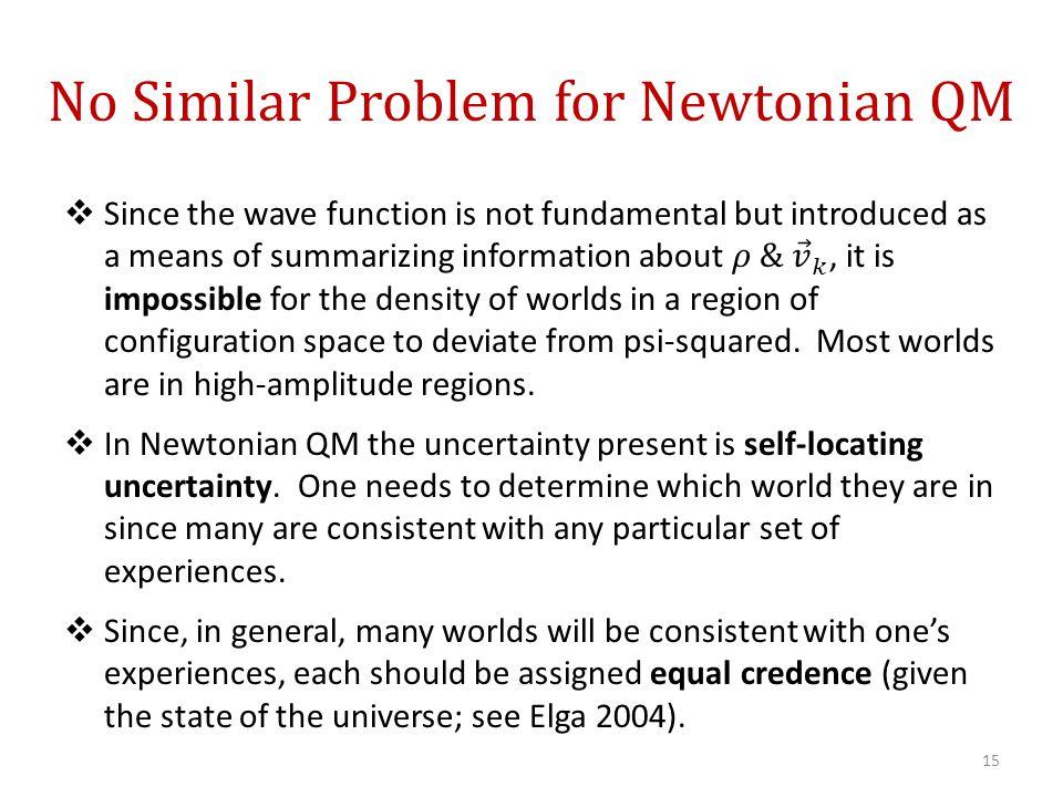 No Similar Problem for Newtonian QM 15