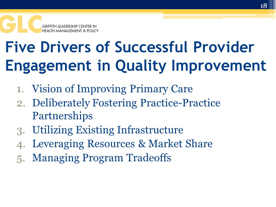 Five Drivers of Successful Provider Engagement in Quality Improvement 1.Vision of Improving Primary Care 2.Deliberately Fostering Practice-Practice Partnerships 3.Utilizing Existing Infrastructure 4.Leveraging Resources & Market Share 5.Managing Program Tradeoffs 18