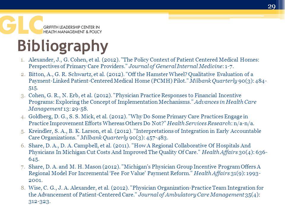 Bibliography 1.Alexander, J., G. Cohen, et al. (2012).