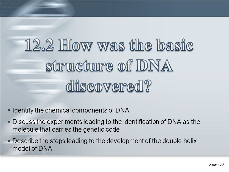 Page  30  Identify the chemical components of DNA  Discuss the experiments leading to the identification of DNA as the molecule that carries the ge