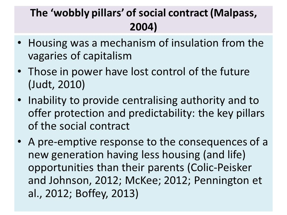 The 'wobbly pillars' of social contract (Malpass, 2004) Housing was a mechanism of insulation from the vagaries of capitalism Those in power have lost control of the future (Judt, 2010) Inability to provide centralising authority and to offer protection and predictability: the key pillars of the social contract A pre-emptive response to the consequences of a new generation having less housing (and life) opportunities than their parents (Colic-Peisker and Johnson, 2012; McKee; 2012; Pennington et al., 2012; Boffey, 2013)