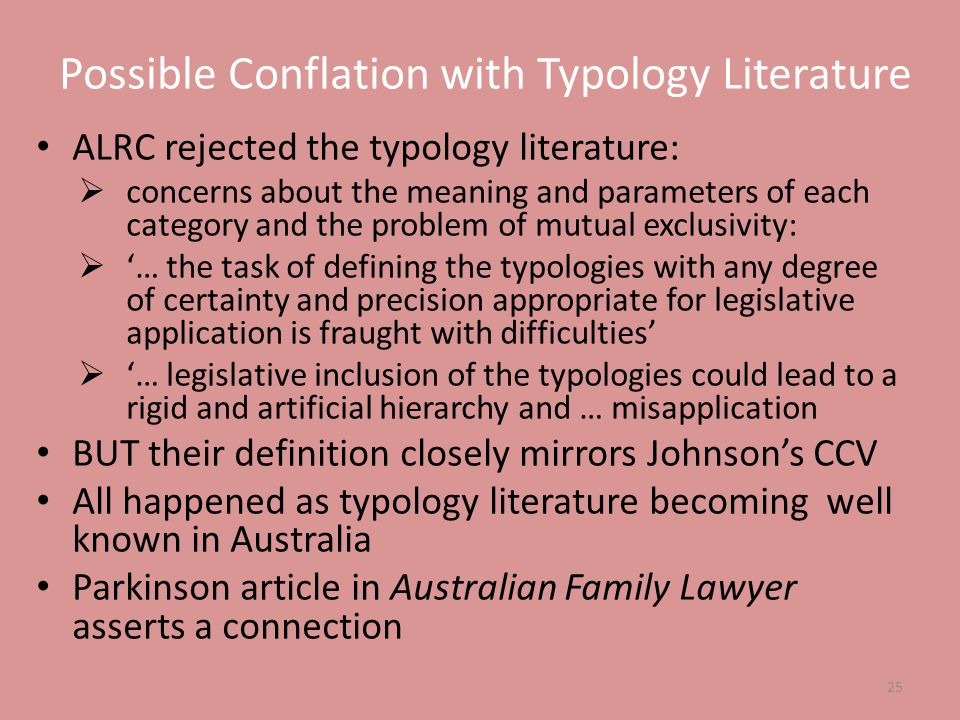 Possible Conflation with Typology Literature ALRC rejected the typology literature:  concerns about the meaning and parameters of each category and t