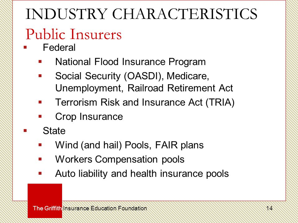 INDUSTRY CHARACTERISTICS Public Insurers  Federal  National Flood Insurance Program  Social Security (OASDI), Medicare, Unemployment, Railroad Retirement Act  Terrorism Risk and Insurance Act (TRIA)  Crop Insurance  State  Wind (and hail) Pools, FAIR plans  Workers Compensation pools  Auto liability and health insurance pools The Griffith Insurance Education Foundation14