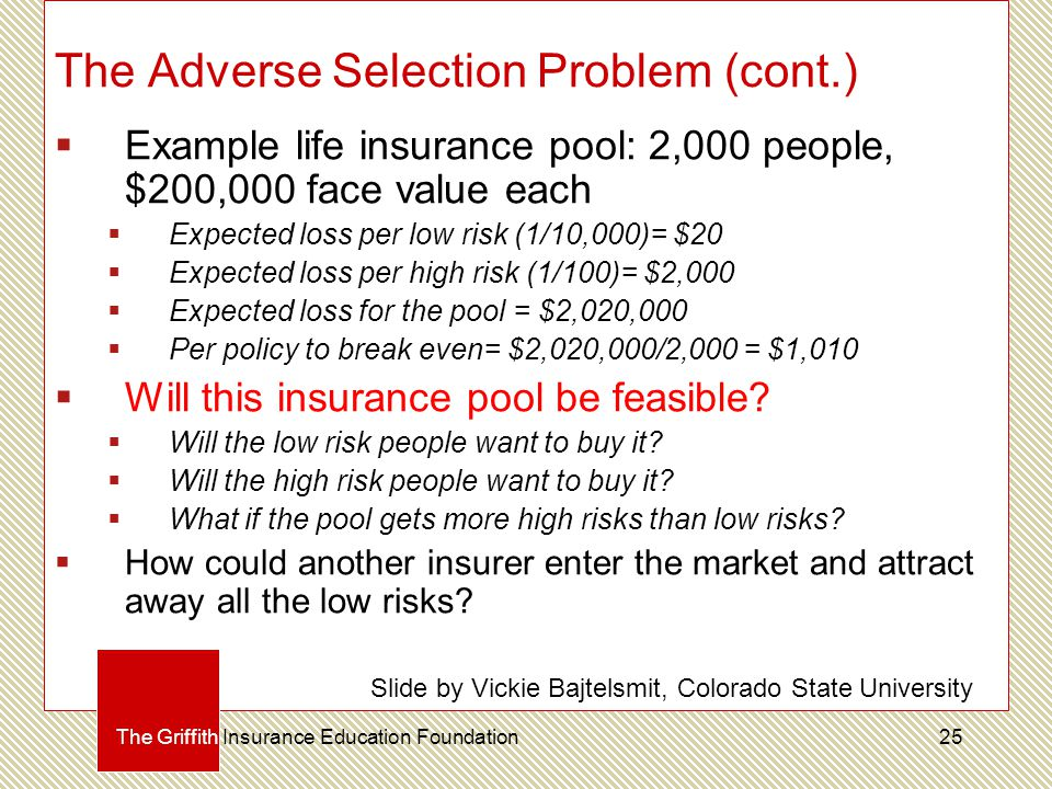 The Adverse Selection Problem (cont.)  Example life insurance pool: 2,000 people, $200,000 face value each  Expected loss per low risk (1/10,000)= $20  Expected loss per high risk (1/100)= $2,000  Expected loss for the pool = $2,020,000  Per policy to break even= $2,020,000/2,000 = $1,010  Will this insurance pool be feasible.