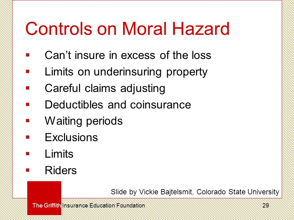 Controls on Moral Hazard  Can't insure in excess of the loss  Limits on underinsuring property  Careful claims adjusting  Deductibles and coinsurance  Waiting periods  Exclusions  Limits  Riders The Griffith Insurance Education Foundation Slide by Vickie Bajtelsmit, Colorado State University 29