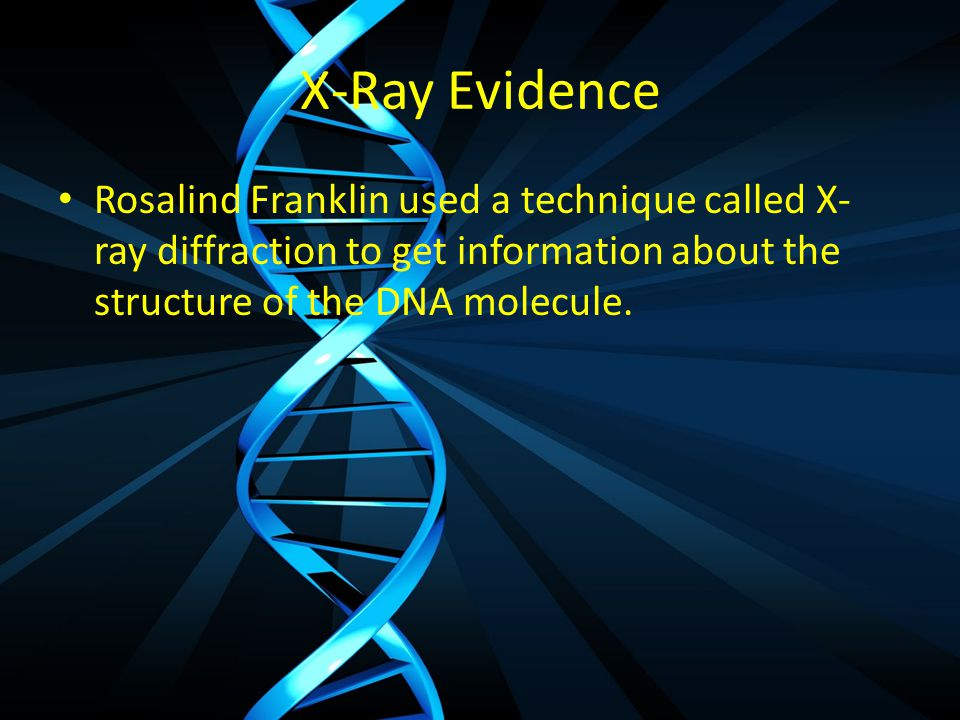 X-Ray Evidence Rosalind Franklin used a technique called X- ray diffraction to get information about the structure of the DNA molecule.
