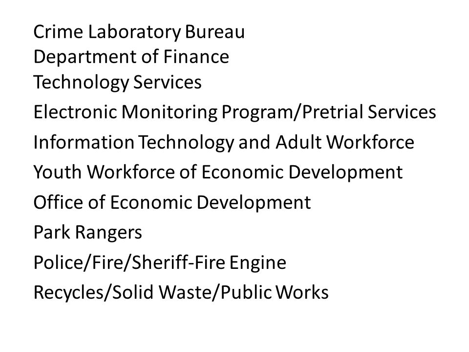 Crime Laboratory Bureau Department of Finance Technology Services Electronic Monitoring Program/Pretrial Services Information Technology and Adult Workforce Youth Workforce of Economic Development Office of Economic Development Park Rangers Police/Fire/Sheriff-Fire Engine Recycles/Solid Waste/Public Works