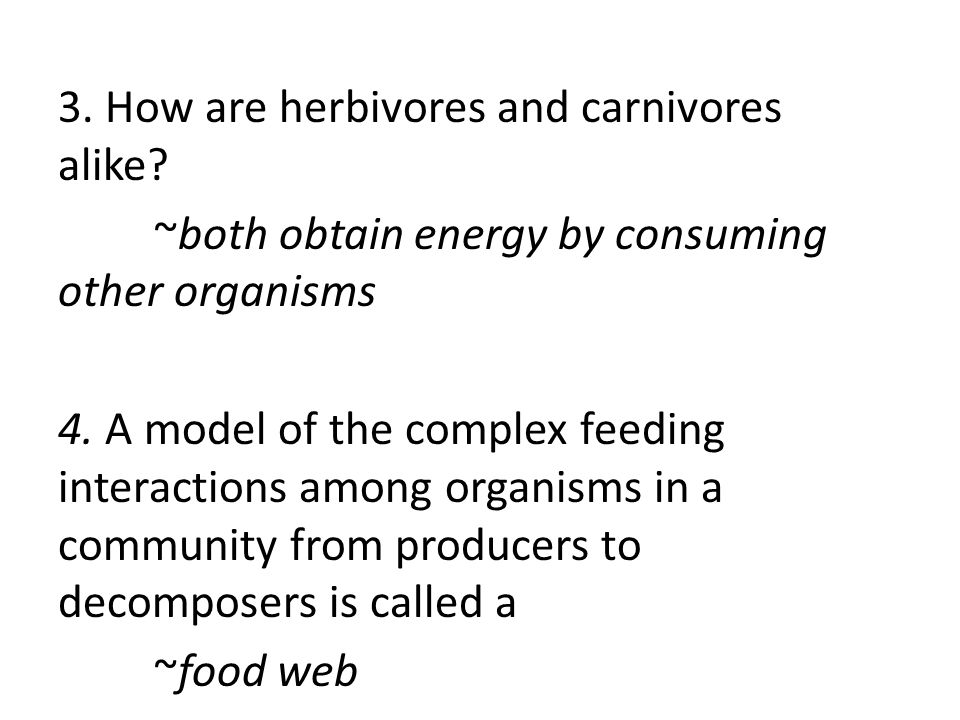 3. How are herbivores and carnivores alike? ~both obtain energy by consuming other organisms 4. A model of the complex feeding interactions among orga