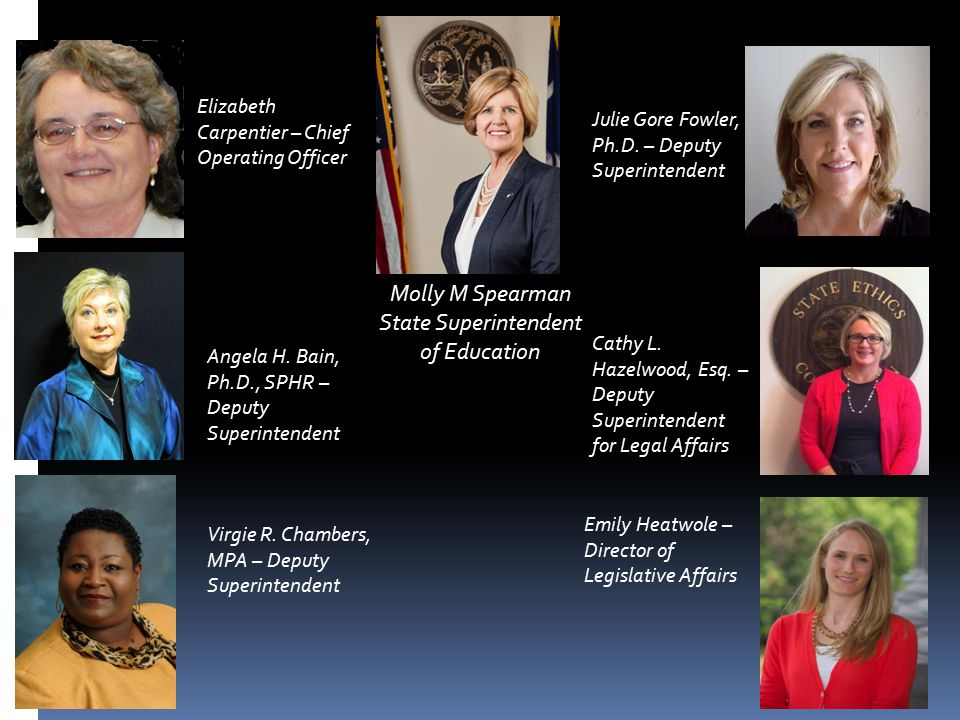 Molly M Spearman State Superintendent of Education Elizabeth Carpentier – Chief Operating Officer Angela H. Bain, Ph.D., SPHR – Deputy Superintendent