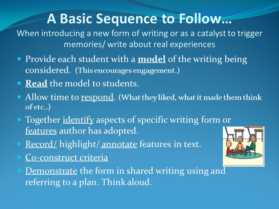 A Basic Sequence to Follow… When introducing a new form of writing or as a catalyst to trigger memories/ write about real experiences Provide each student with a model of the writing being considered.