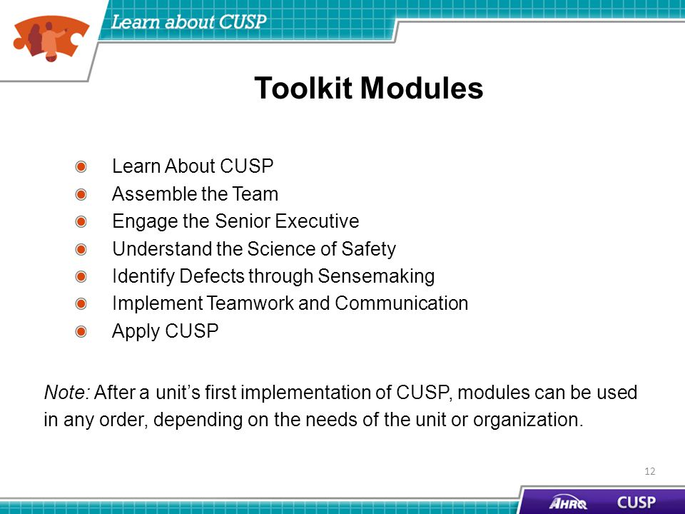 Toolkit Modules Learn About CUSP Assemble the Team Engage the Senior Executive Understand the Science of Safety Identify Defects through Sensemaking Implement Teamwork and Communication Apply CUSP Note: After a unit's first implementation of CUSP, modules can be used in any order, depending on the needs of the unit or organization.