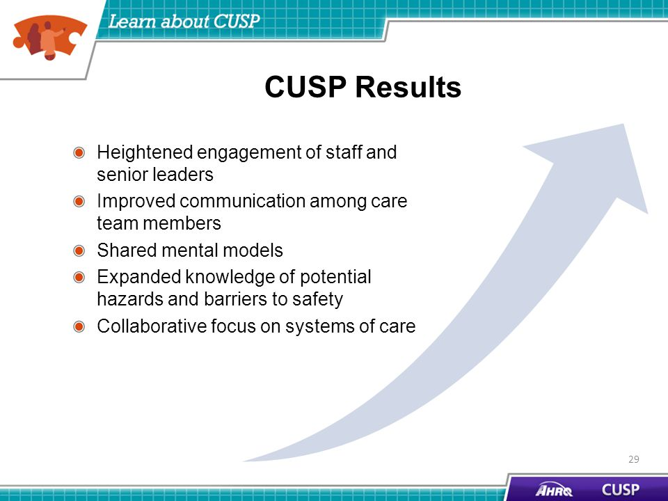 CUSP Results Heightened engagement of staff and senior leaders Improved communication among care team members Shared mental models Expanded knowledge of potential hazards and barriers to safety Collaborative focus on systems of care 29
