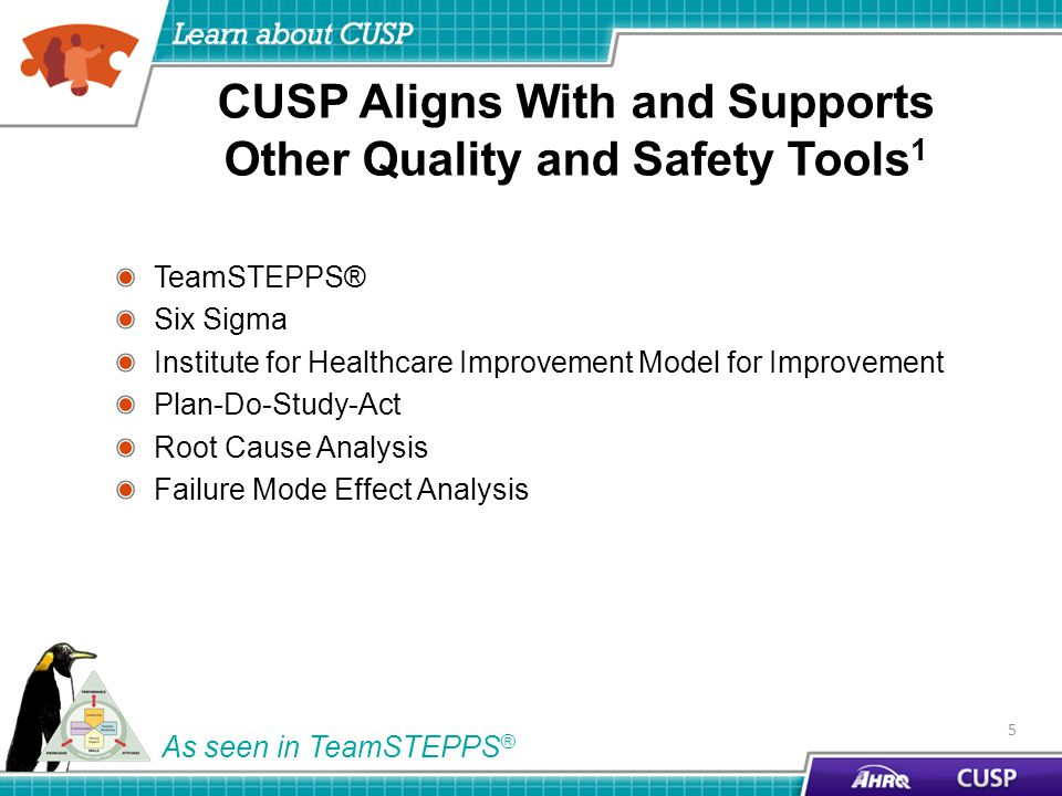 CUSP Aligns With and Supports Other Quality and Safety Tools 1 TeamSTEPPS® Six Sigma Institute for Healthcare Improvement Model for Improvement Plan-Do-Study-Act Root Cause Analysis Failure Mode Effect Analysis 5 As seen in TeamSTEPPS ®