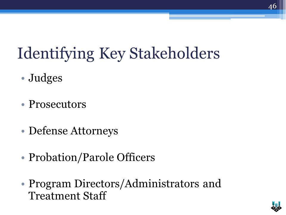 Identifying Key Stakeholders Judges Prosecutors Defense Attorneys Probation/Parole Officers Program Directors/Administrators and Treatment Staff 46