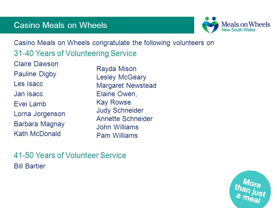 Casino Meals on Wheels Casino Meals on Wheels congratulate the following volunteers on 31-40 Years of Volunteering Service Claire Dawson Pauline Digby