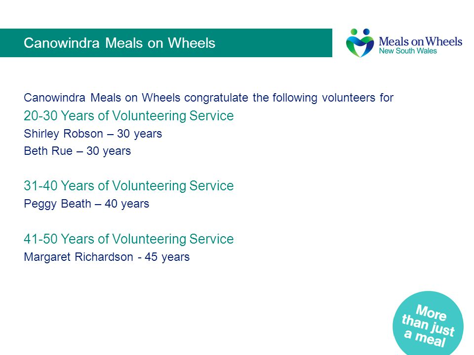 Canowindra Meals on Wheels Canowindra Meals on Wheels congratulate the following volunteers for 20-30 Years of Volunteering Service Shirley Robson – 3