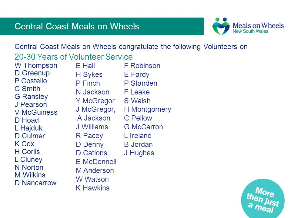 Central Coast Meals on Wheels Central Coast Meals on Wheels congratulate the following Volunteers on 20-30 Years of Volunteer Service W Thompson D Gre