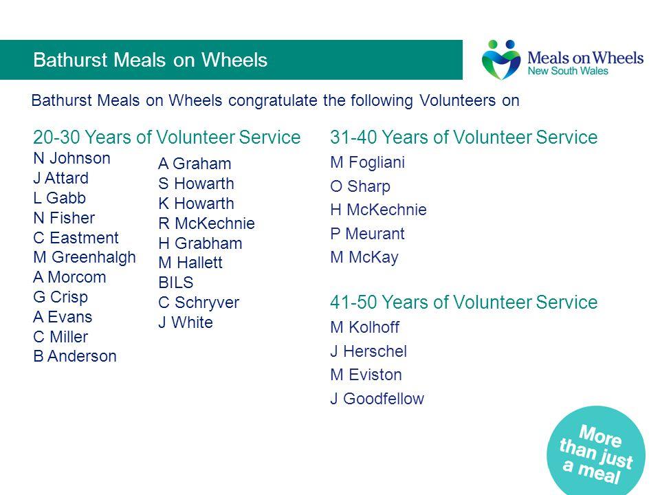 Rylstone Kandos Meals on Wheels Rylstone Kandos Meals on Wheels congratulate the following volunteers on 31-40 Years of Volunteer Service Elizabeth M.