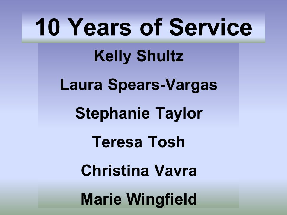 Kelly Shultz Laura Spears-Vargas Stephanie Taylor Teresa Tosh Christina Vavra Marie Wingfield 10 Years of Service