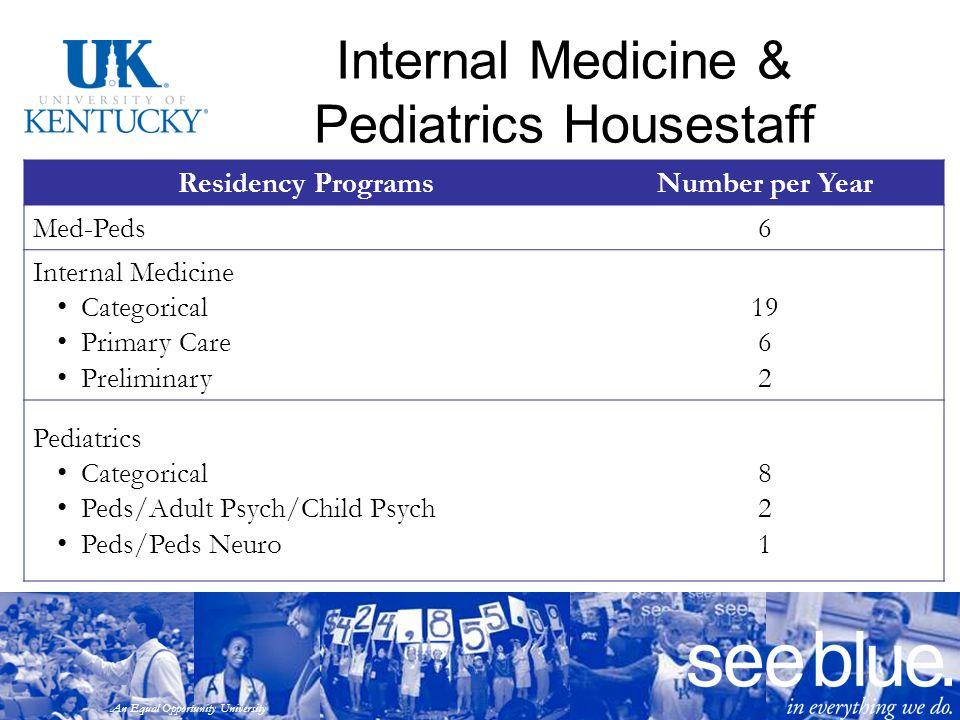 An Equal Opportunity University Internal Medicine & Pediatrics Housestaff Residency ProgramsNumber per Year Med-Peds6 Internal Medicine Categorical Pr
