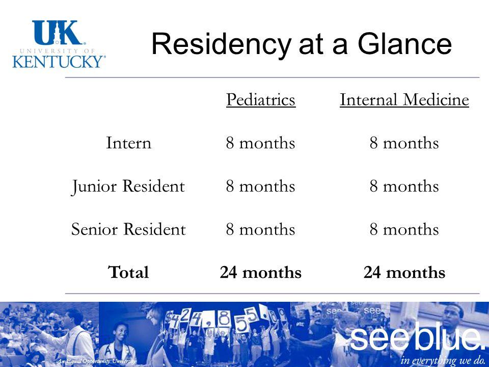 An Equal Opportunity University Residency at a Glance PediatricsInternal Medicine Intern8 months Junior Resident8 months Senior Resident8 months Total