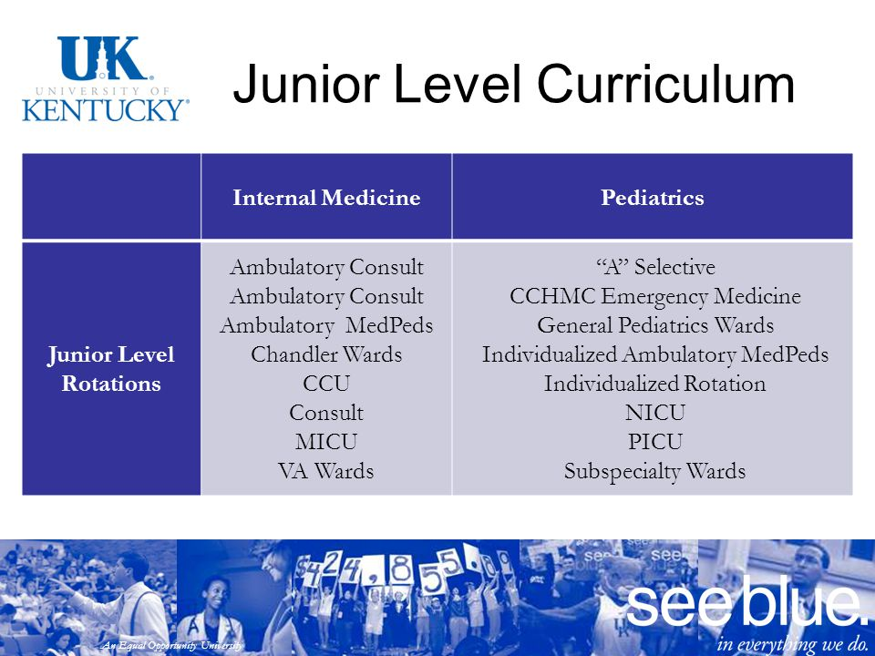 An Equal Opportunity University Junior Level Curriculum Internal MedicinePediatrics Junior Level Rotations Ambulatory Consult Ambulatory MedPeds Chand