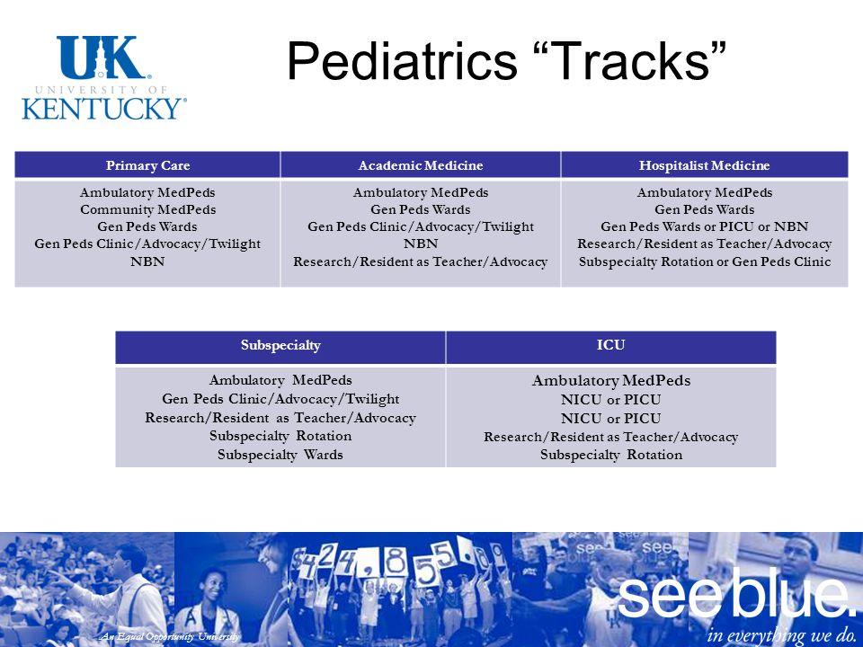 "An Equal Opportunity University Pediatrics ""Tracks"" Primary CareAcademic MedicineHospitalist Medicine Ambulatory MedPeds Community MedPeds Gen Peds Wa"