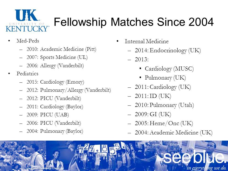 An Equal Opportunity University Fellowship Matches Since 2004 Med-Peds –2010: Academic Medicine (Pitt) –2007: Sports Medicine (UL) –2006: Allergy (Van