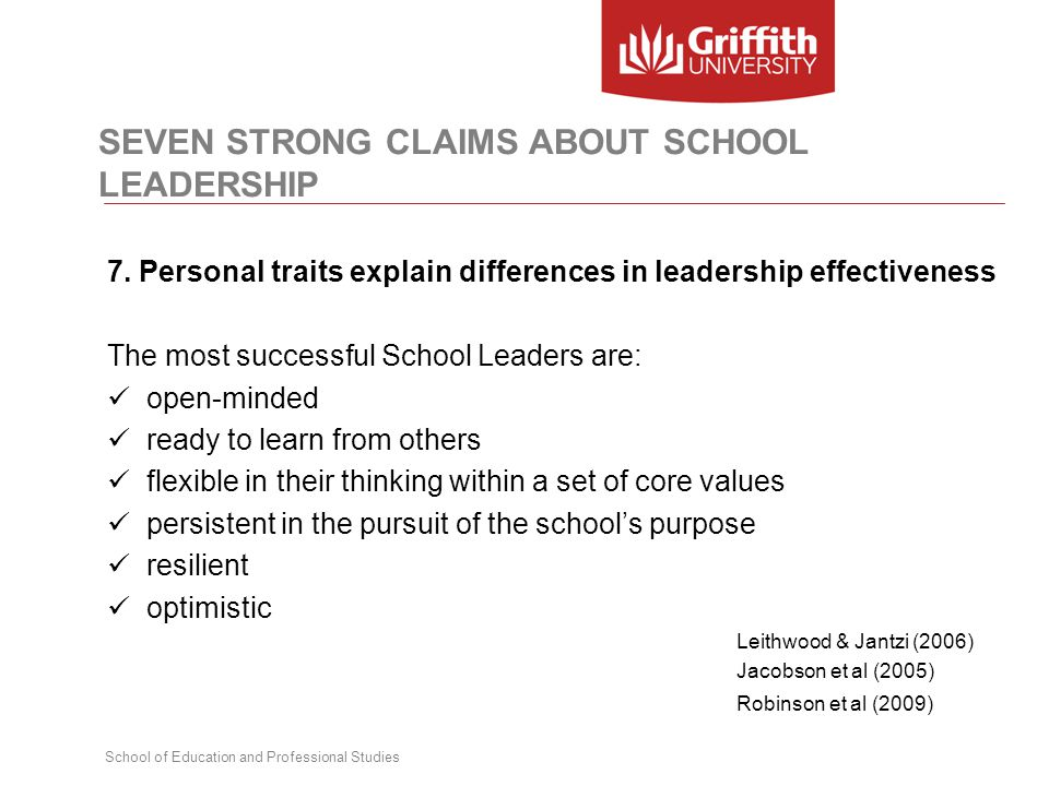 School of Education and Professional Studies SEVEN STRONG CLAIMS ABOUT SCHOOL LEADERSHIP 7. Personal traits explain differences in leadership effectiv
